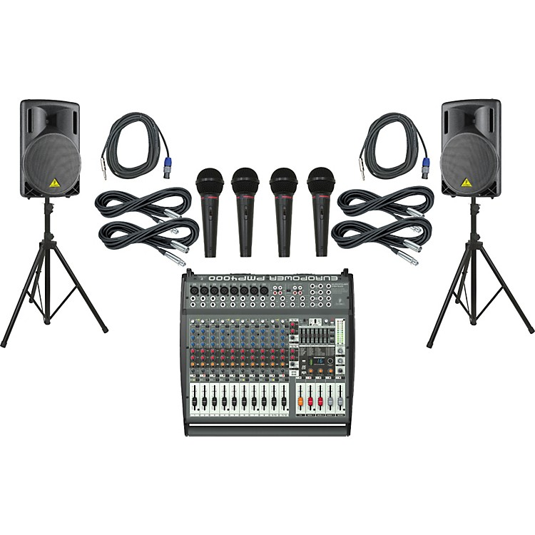 Behringer PMP4000 / B215XL Powered Mixer Mains & Mics Package