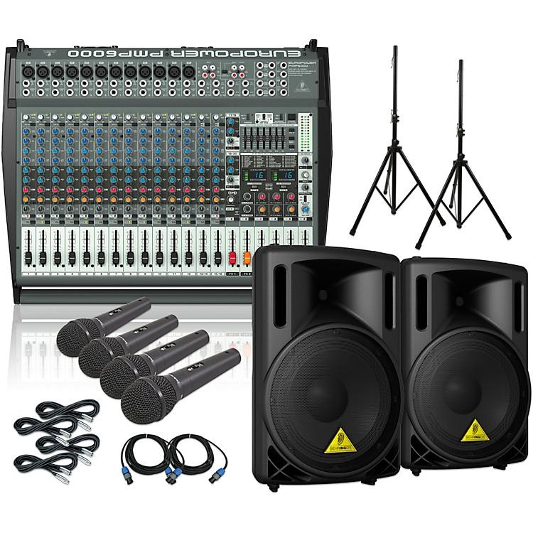 BehringerPMP6000 B215XL Powered Mixer Mains and Mics Package