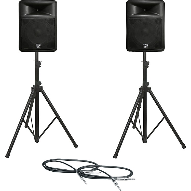 PeaveyPR 15D Speaker Pair with Stands and Cables