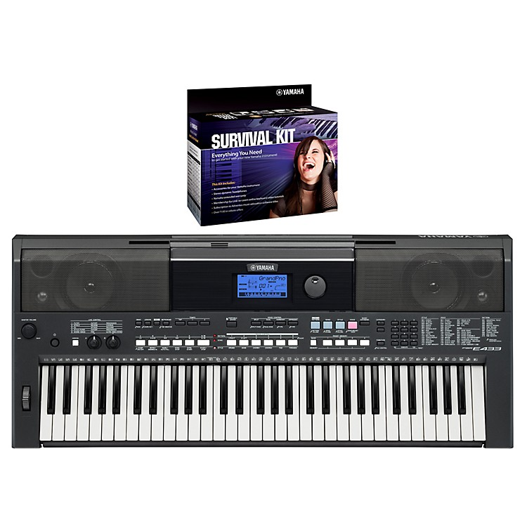 Yamaha PSRE433 Portable Digital Piano with Yamaha D2 Survival kit