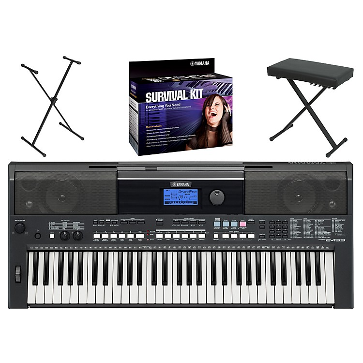 YamahaPSRE433 Portable Digital Pianowith Yamaha D2 Survival Kit, Bench, & Stand