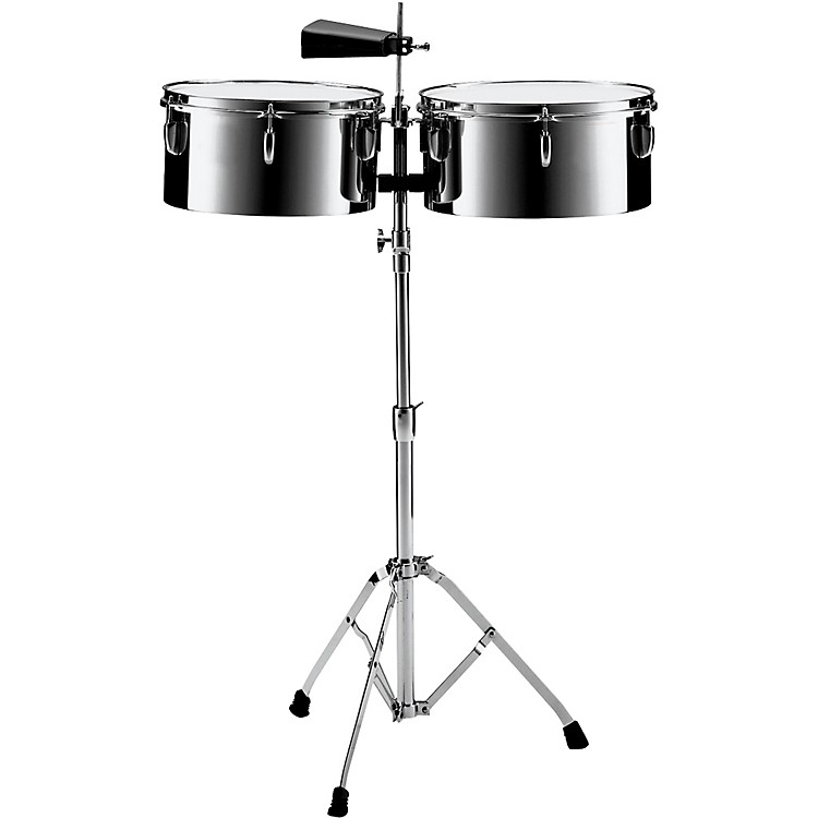 PearlPTS5134 13 in. and 14 in. Steel Timbales with Cowbell and Stand