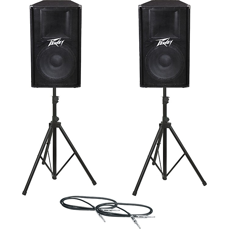 PeaveyPV115 Speaker Pair with Stands and Cables