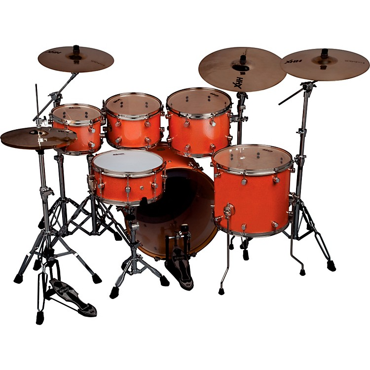 Ddrum Paladin Maple 6-Piece High Boy Shell Pack Vintage Coral Sparkle Lacquer Nickel Hardware