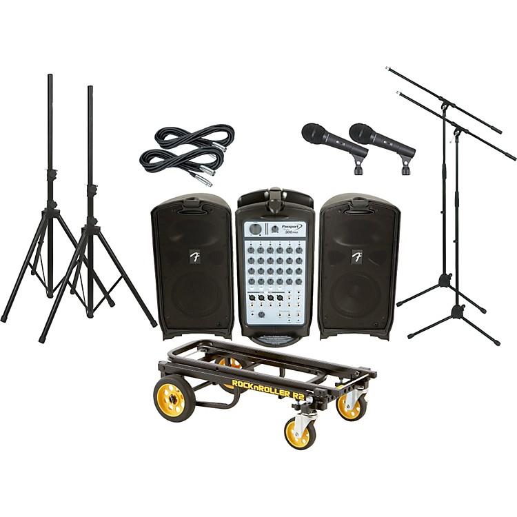 FenderPassport 300 Pro 2 Mic Package with Rock N Roller Cart