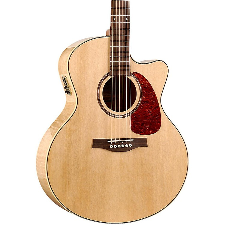 Seagull Performer Cutaway Mini Jumbo Flame Maple High Gloss QI Acoustic-Electric Guitar Natural
