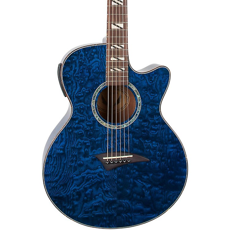 Dean Performer Quilt Ash Acoustic-Electric Guitar with Aphex Transparent Blue