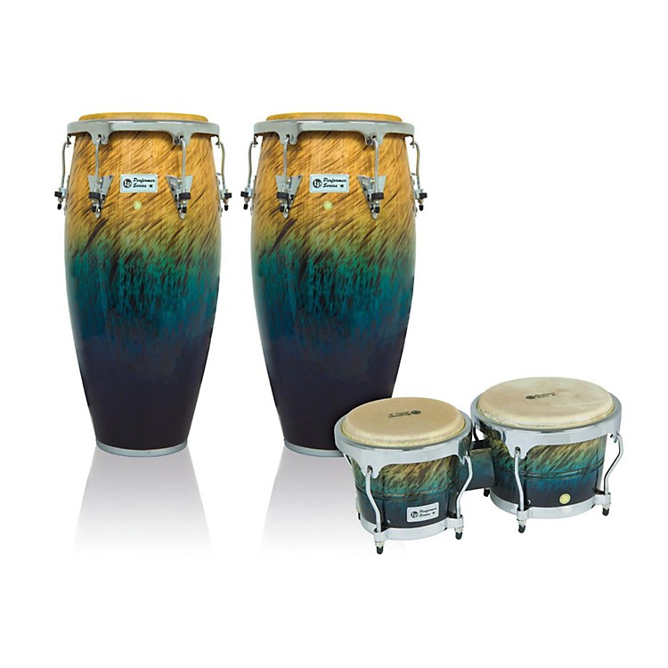 LP Performer Series 2-Piece Conga and Bongo Set with Chrome Hardware Blue Fade