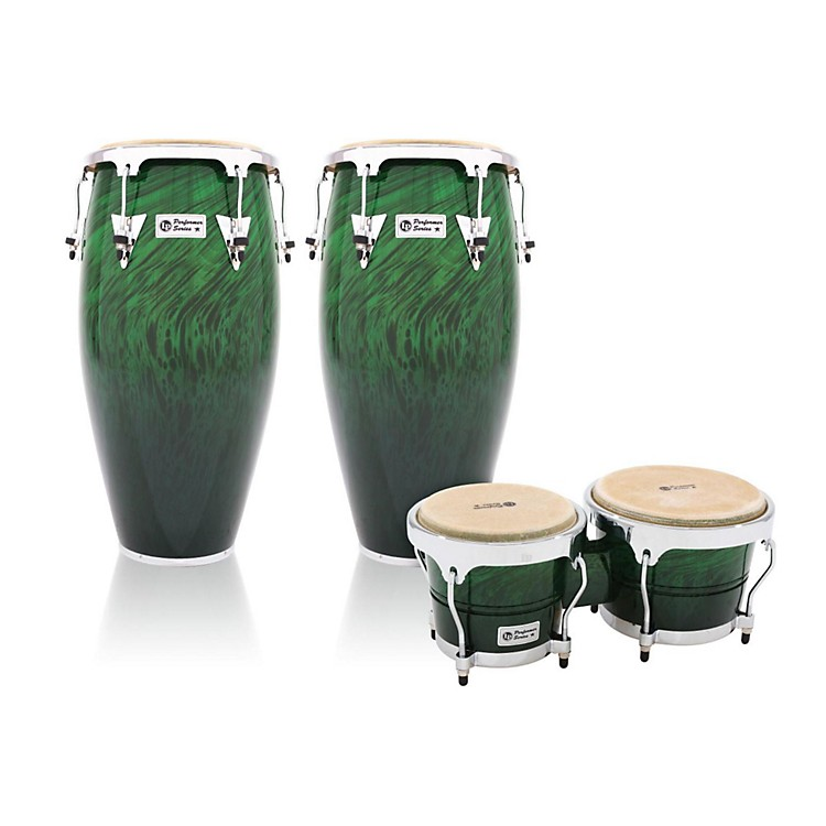 LP Performer Series 2-Piece Conga and Bongo Set with Chrome Hardware Green Fade