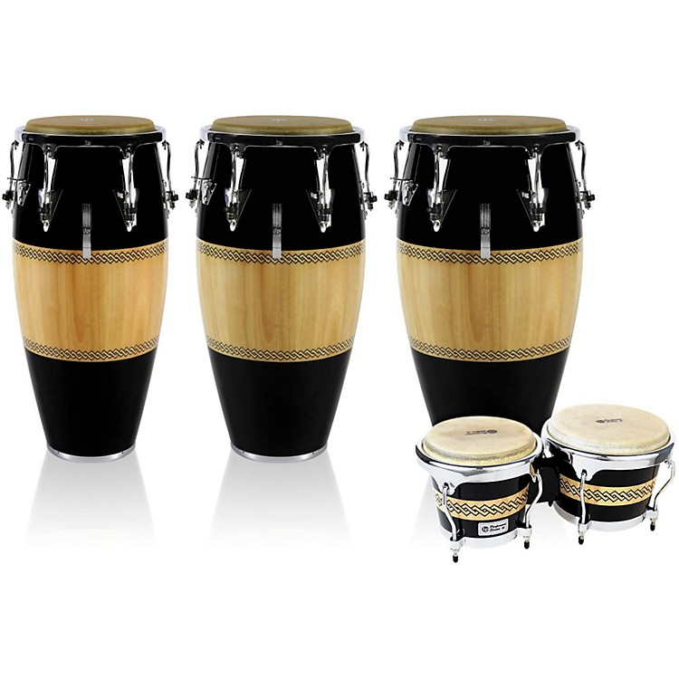 LP Performer Series 3-Piece Conga and Bongo Set with Chrome Hardware Black/Natural