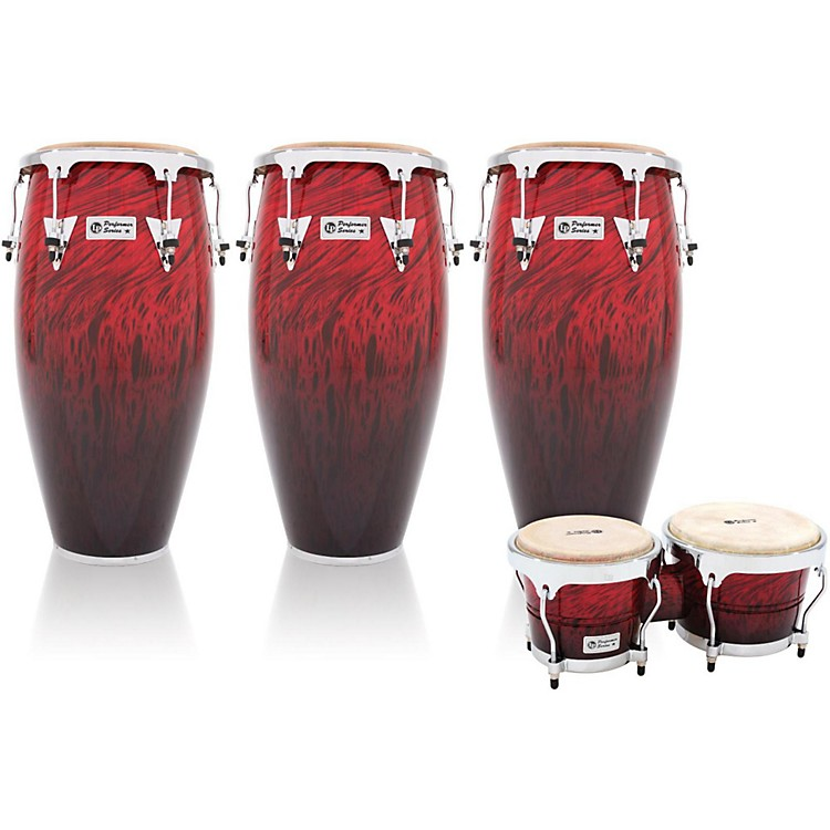 LPPerformer Series 3-Piece Conga and Bongo Set with Chrome HardwareRed Fade