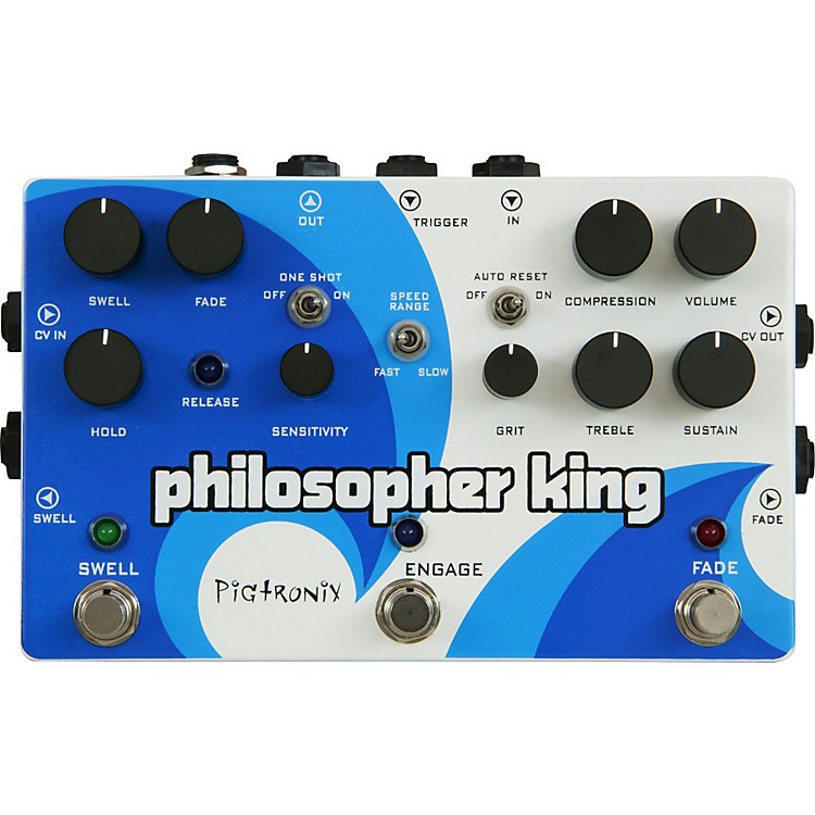 Pigtronix Philosopher King Compressor and Sustainer Guitar Effects Pedal White and Blue