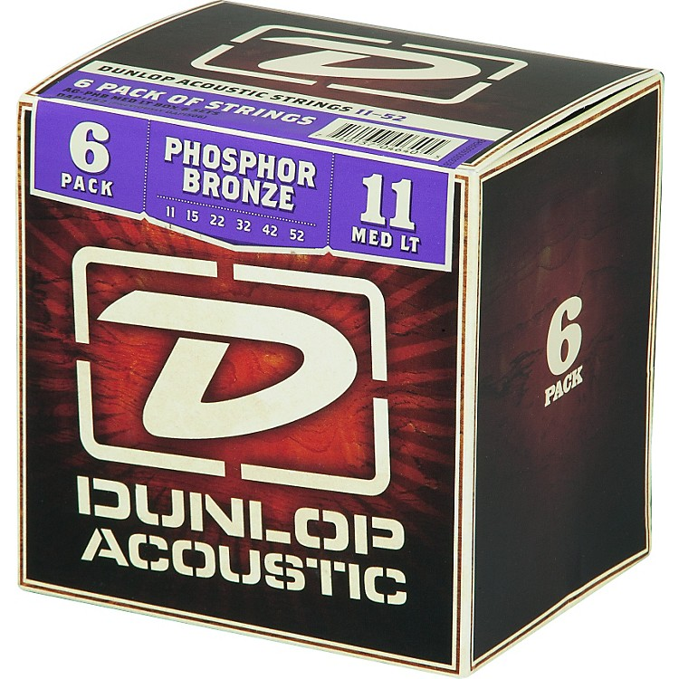 Dunlop Phosphor Bronze Acoustic Guitar Strings Medium Light 6-Pack