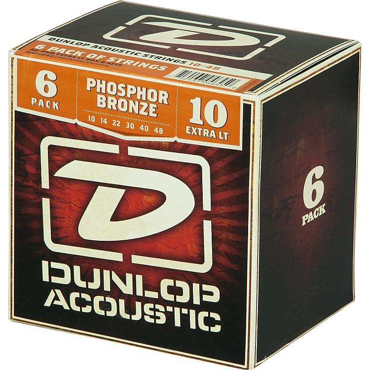 DunlopPhosphor Bronze Acoustic Guitar Strings Xtra Light 6-Pack