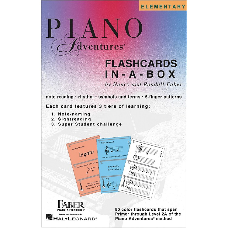 Faber Music Piano Adventures FlashCards In-A-Box (Primer Level Through 2A Elementary) - Faber Piano