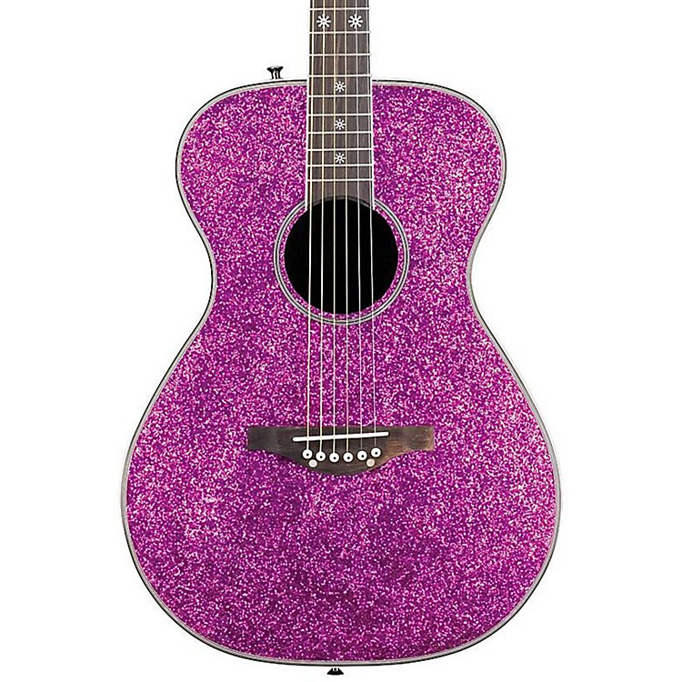 Daisy Rock Pixie Spruce Top Acoustic-Electric Guitar Pink Sparkle