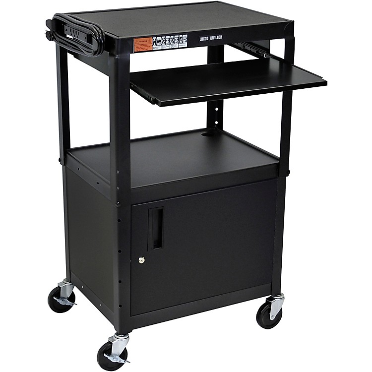 H. WilsonPlastic Cart with Steel Cabinet and Pullout Keyboard Tray