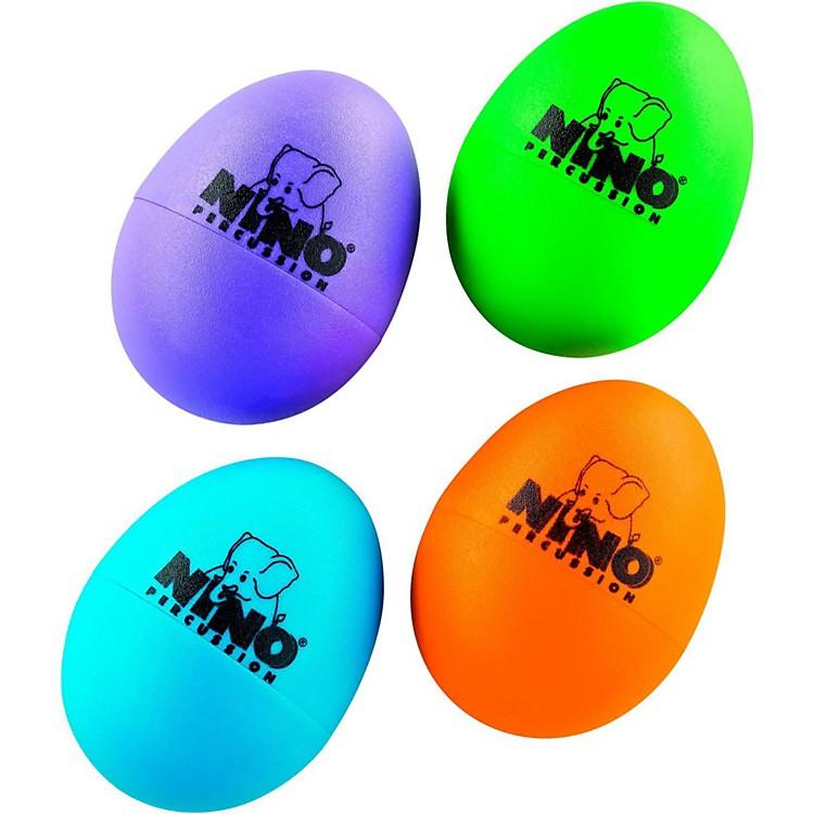 NinoPlastic Egg Shaker 4 Piece AssortmentAubergine/Grass Green/Orange/Sky Blue