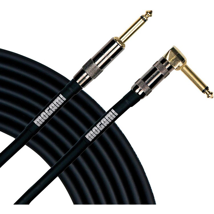 Mogami Platinum Instrument Cable with Right Angle to Straight End Connectors 40 ft. Right Angle to Straight