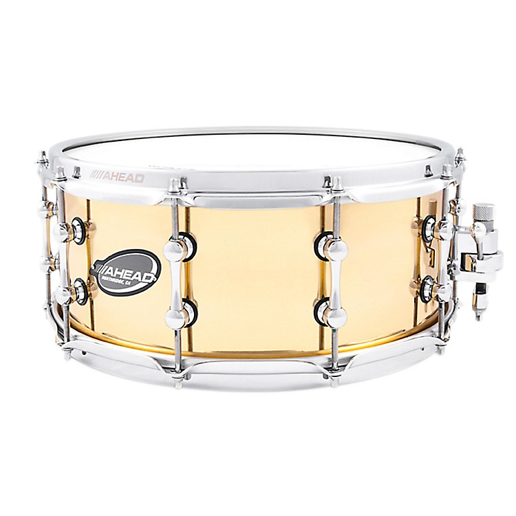 Ahead Polished 1.5mm Cast Bell Brass Snare Drum w/Trick Throw Off 6 x 14 Inch