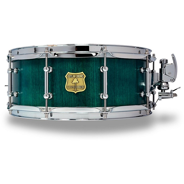 OUTLAW DRUMS Poplar Stave Snare Drum with Chrome Hardware 14 x 5.5 in. Emerald Cove