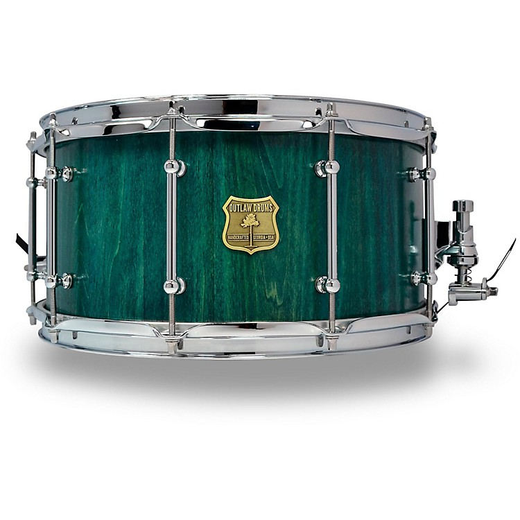 OUTLAW DRUMSPoplar Stave Snare Drum with Chrome Hardware14 x 7 in.Emerald Cove