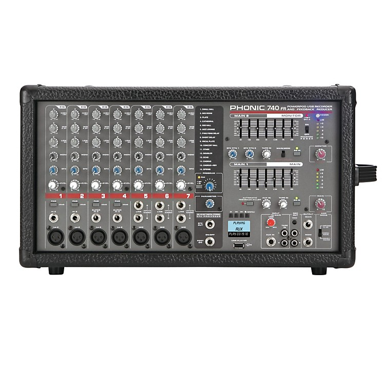 PhonicPowerpod 740 FR 7-Channel Powered Mixer with DFX and USB Recorder