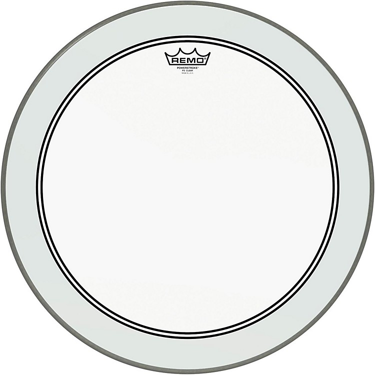 Remo Powerstroke 3 Clear Bass Drumhead with White Impact Patch  22 Inches