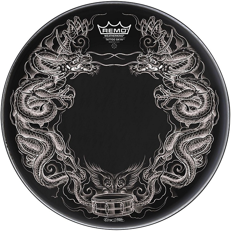 Remo Powerstroke Tattoo Skyn Bass Drumhead, Black 22 in. Dragon Skyn Graphic