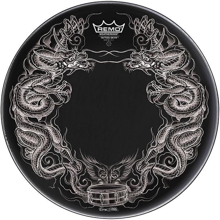 RemoPowerstroke Tattoo Skyn Bass Drumhead, Black22 in.Dragon Skyn Graphic