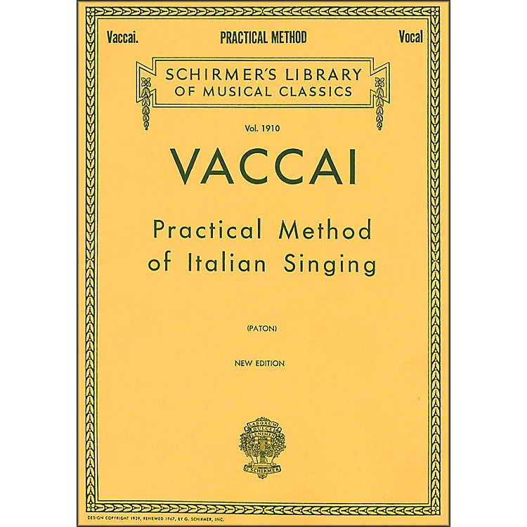 G. SchirmerPractical Method Of Italian Singing for Alto Or Barintone Voice By Vaccai