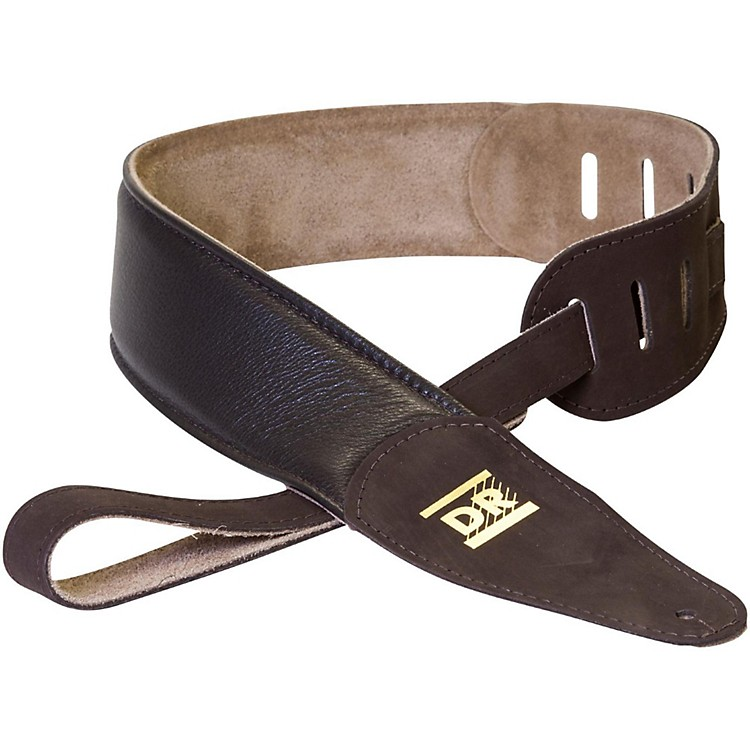 DR Strings Premium Glove Leather Guitar Strap with Suede Interior Brown