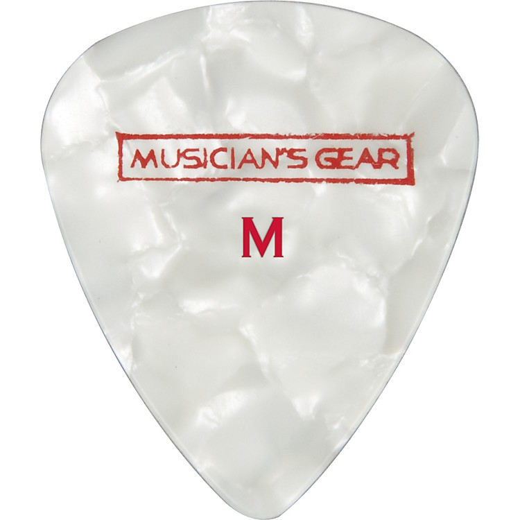 Musician's Gear Premium Pearloid Celluloid Pick - 12 Pack White Medium