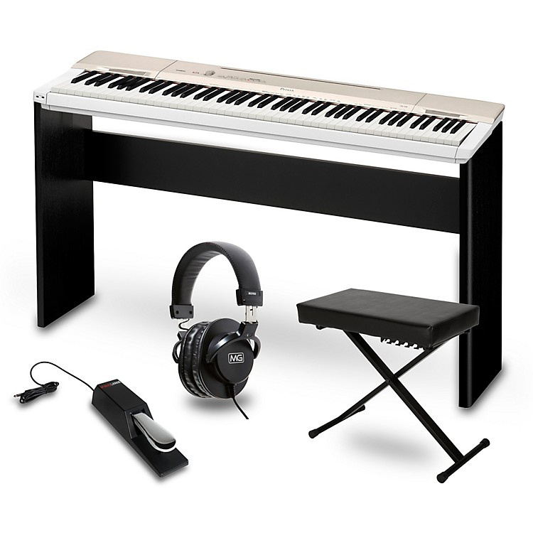 Casio Privia PX-160GD Digital Piano with CS-67 Stand Sustain Pedal Deluxe Keyboard Bench and Headphones