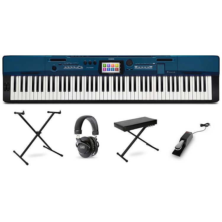 CasioPrivia PX-560 Digital Piano with Stand Sustain Pedal Deluxe Keyboard Bench and Headphones