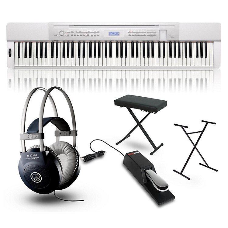 CasioPrivia PX350 Digital Piano White with Stand, Sustain Pedal, Deluxe Keyboard Bench and Headphones