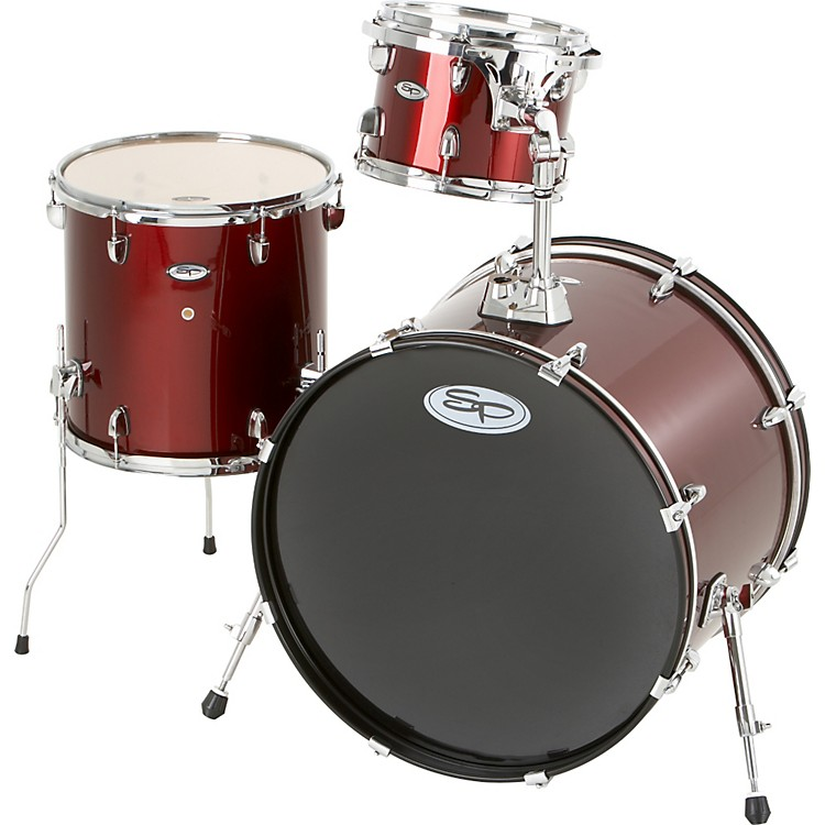 Sound Percussion Labs Pro 3-Piece Double Bass Add-On Pack (Chrome Hoops and Lugs) Wine Red