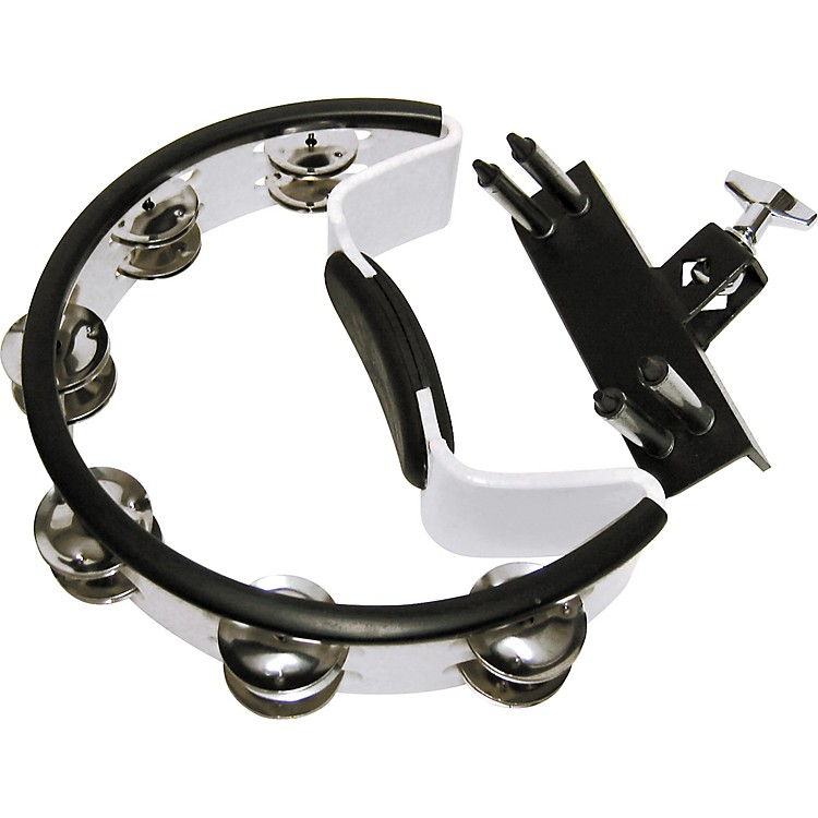 Pearl Quick-Draw Mounted Tambourine with Steel Jingles White