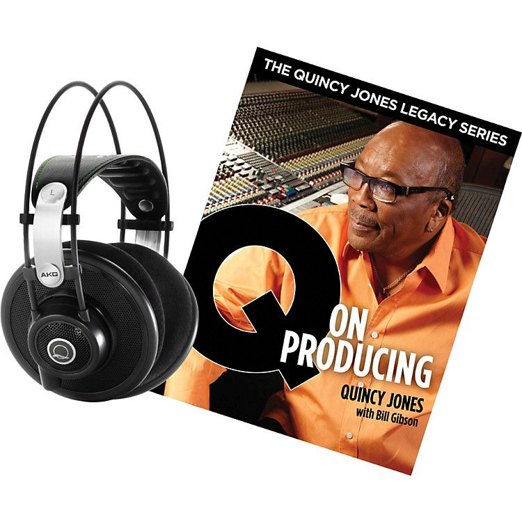 AKG Quincy Jones Q701 Headphones with Q on Producing Book Black