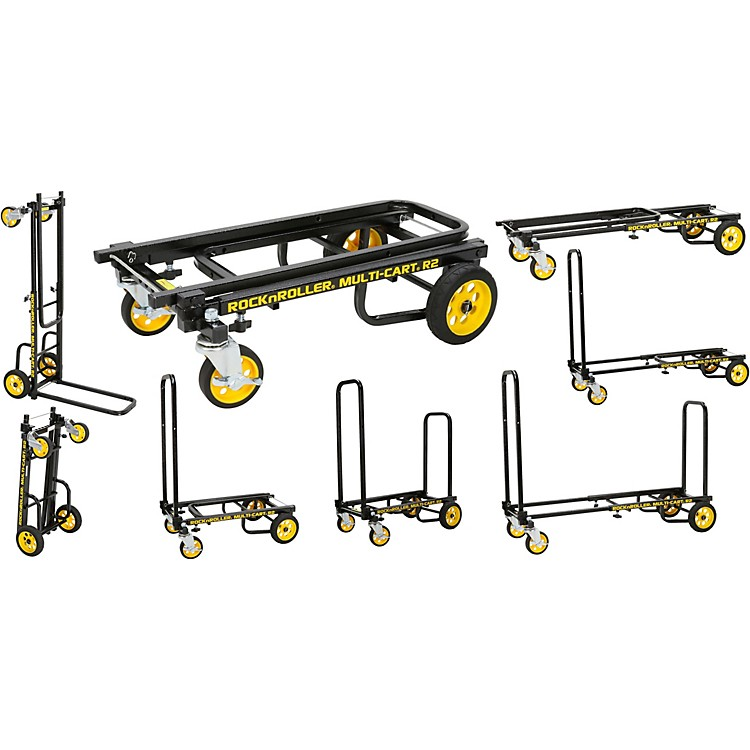 Rock N Roller R2RT Multi-Cart 8-in-1 Micro Equipment Transporter Cart Black Frame/Yellow Wheels Micro