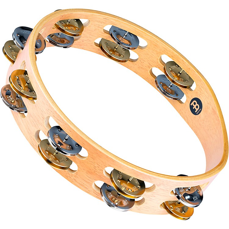 MeinlRecording-Combo Wood Tambourine Two Rows Dual Alloy JinglesSuper Natural