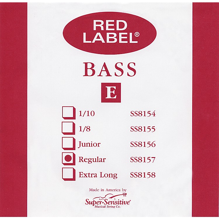 Super Sensitive Red Label 3/4 Size Double Bass Strings 3/4 E String