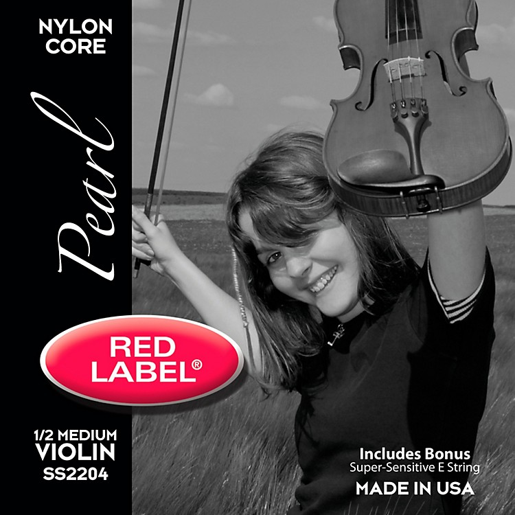 Super Sensitive Red Label Pearl Nylon Core Violin String Set 1/2 Size