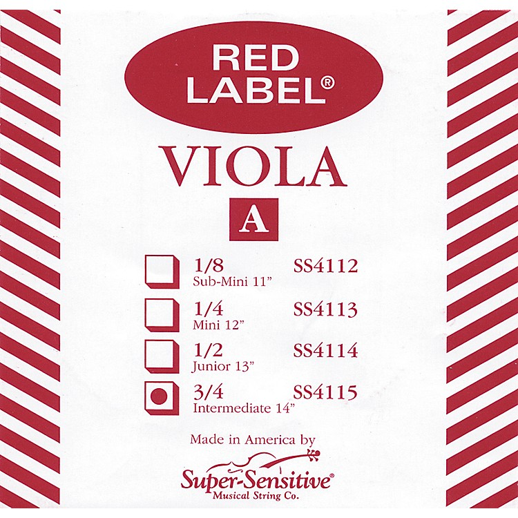 Super Sensitive Red Label Viola A String  Intermediate