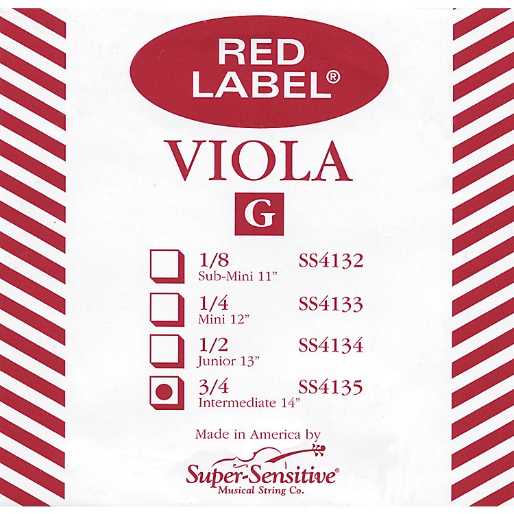 Super Sensitive Red Label Viola G String  Intermediate