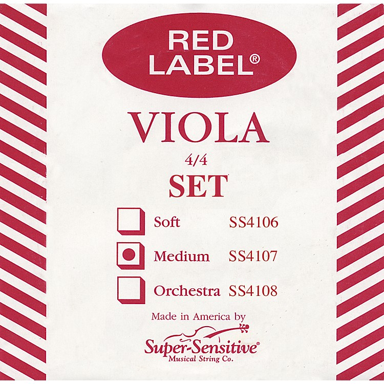 Super Sensitive Red Label Viola String Set  Full