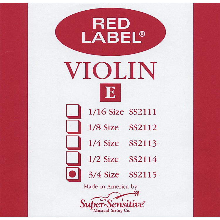 Super Sensitive Red Label Violin E String  3/4