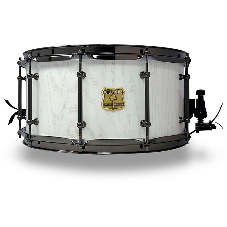 OUTLAW DRUMS Red Oak Stave Snare Drum with Black Chrome Hardware 14 x 7 in. White Wash