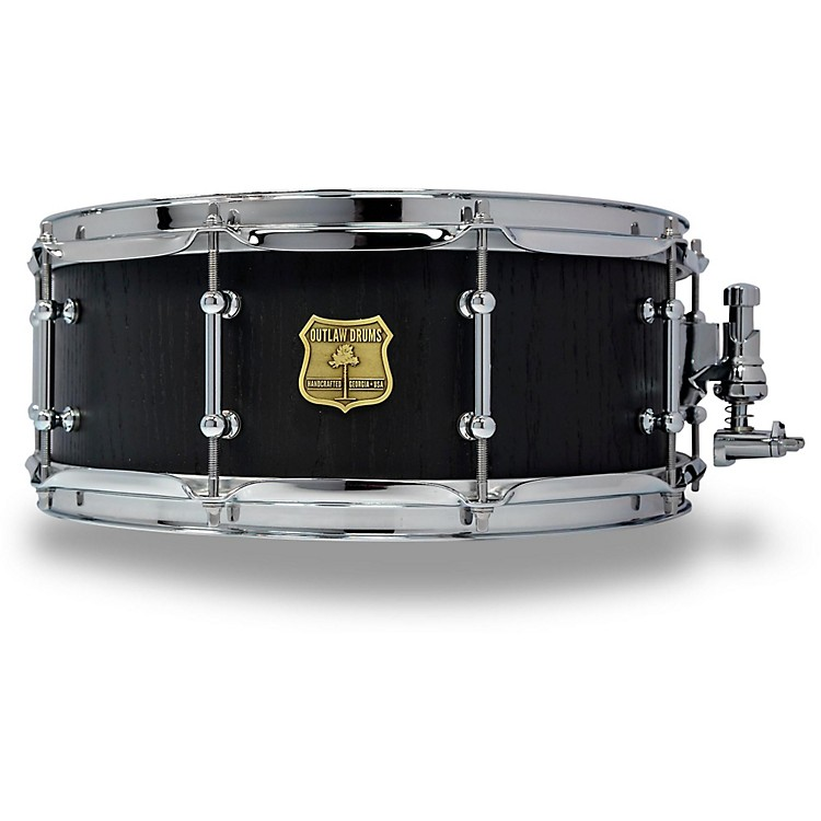 OUTLAW DRUMS Red Oak Stave Snare Drum with Chrome Hardware 14 x 5.5 in. Black Satin
