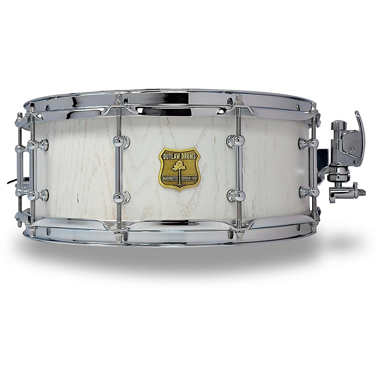 OUTLAW DRUMSRed Oak Stave Snare Drum with Chrome Hardware14 x 5.5 in.White Wash